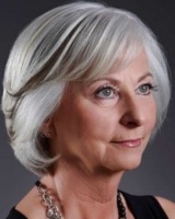 Older woman hairstyle in bob style with long bangs and two toned hair.PNG