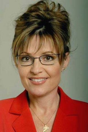 governor Sarah Palin with casual updo hairstyle with long