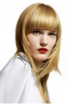 Blonde hair women hairstyle in very long length with layers and straight bang.PNG