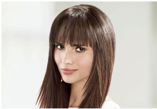 Woman Trendy Long Hairstyle With Layrers And Cool Bangs