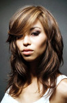 Women long layered hairstyles with highlights and long swept bang