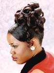 Long hair style updo with small rolls, black