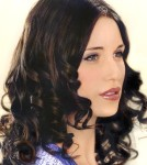 Long hair style with loose curling iron, black