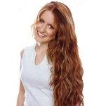 Long hair style with light curls, brown - very long women hair style