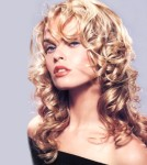 Long hair style with big curls, blonde