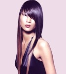 Long straight and shiny hair style with long side-part bangs, purple hair color