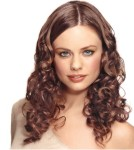 Long hair style with soft curls, brown