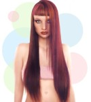 Very Long beautiful hair style with blunt bangs, red