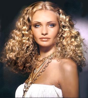 Long hair style with big perm - cut women hair style