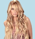 Very Long hair style with long side-part bangs, wavy curls, blonde