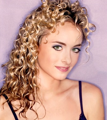 Long hair style with perm, blonde picture