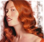 Long hair style with big wavy curls, red - woman with very long hair