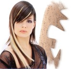 Long layered hair style with long side-part bangs, highlight, blonde and brunette -hair style for woman with long hair