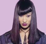 Long hair style, straight hair with bangs, black