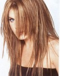 Long layered hair style with highlight, brown,