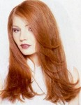 Long wavy hair style, red,