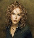 Medium long hair style, spiral curls, blonde
