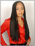 Long hair style with braid, black hair color - black woman long hair style