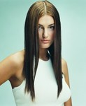 Long straight hair style, highlight