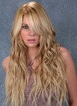 New long hair style, soft curls, blonde