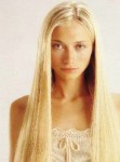 Long straight hair style, blonde