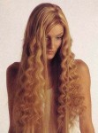 Hair style for long curly hair, blonde
