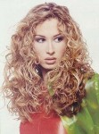 Long hair style with small curls, blonde
