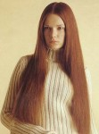 Long straight hair style, red