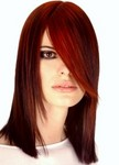 Medium long hair style, layers, two toned