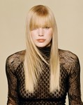 Long hair style with bangs, blonde