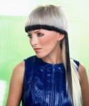 Long straight hair style with long wide blunt bangs, gray white hair with black hair line - punk hair style/ funky hair style