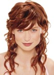 Long hair style with curls with wavy bangs, short in front and long in the back, red