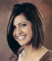 Cute bob hairstyle for women with very long side bangs with full of layers.PNG