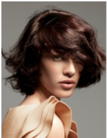 Cute wavy bob with layered bang