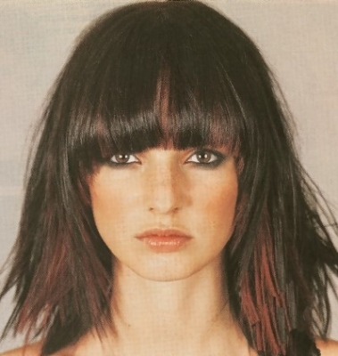 Medium trendy hairstyle with long bangs