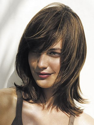 hairstyles with bangs and layers for long hair. Woman medium hairstyle with layers with long side bangs.jpg picture