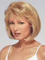 Medium short hair style with layered and wavy bangs, blonde