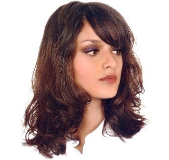 Womens Medium Length Hair Style With Wavy Curl Bangs Brunette
