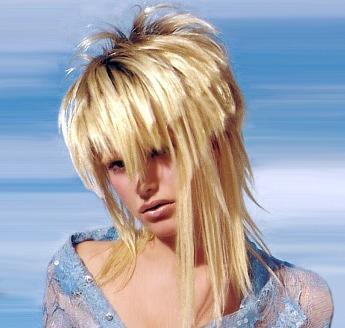 Medium layered & spiky hair style with bangs, blonde
