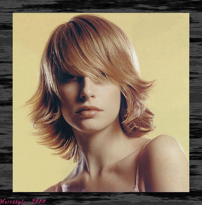 Medium Layered Hair Style With Wispy Side Part Bangs Flip Blonde