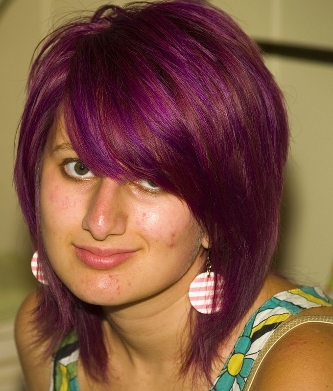 Purple short hairstyle with long swept bang.jpg picture