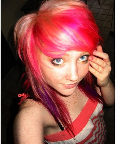 cool teen hairstyle with colorful highlights