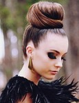Modern large bun updo photo