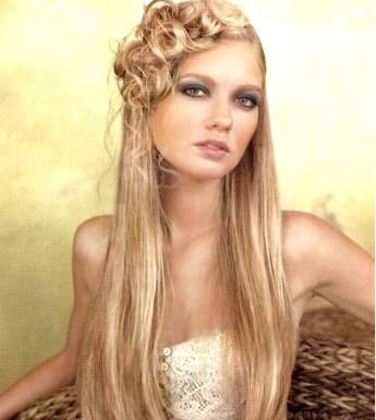 Long hair style with a beautiful style, blonde