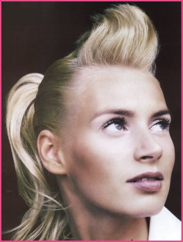 Short hair updo, ponytail, blonde