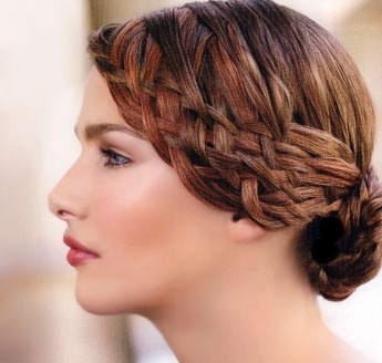 French braid hair style, two tone