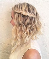 Wavy inverted bob with beautiful waterfall braid