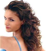 Long hair style with big soft curls, brown