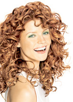 Long hair style with big curls, redish blonde - picture of long hair style for woman