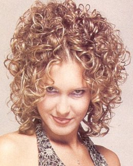 medium curly hair style blonde spiral perm